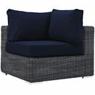 Modway Summon Outdoor Patio Wicker Rattan Sunbrella® Corner in Canvas Navy MY-EEI-1870-GRY-NAV