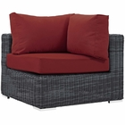 Modway Summon Outdoor Patio Wicker Rattan Sunbrella® Corner in Canvas Red MY-EEI-1870-GRY-RED