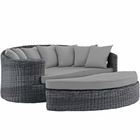 Modway Summon Outdoor Patio Wicker Rattan Sunbrella® Daybed in Canvas Gray MY-EEI-1993-GRY-GRY