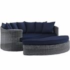 Modway Summon Outdoor Patio Wicker Rattan Sunbrella® Daybed in Canvas Navy MY-EEI-1993-GRY-NAV