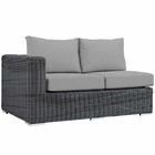 Modway Summon Outdoor Patio Wicker Rattan Sunbrella® Left Arm Loveseat in Canvas Gray MY-EEI-1872-GRY-GRY