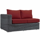 Modway Summon Outdoor Patio Wicker Rattan Sunbrella® Left Arm Loveseat in Canvas Red MY-EEI-1872-GRY-RED