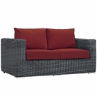 Modway Summon Outdoor Patio Wicker Rattan Sunbrella® Loveseat in Canvas Red MY-EEI-1865-GRY-RED
