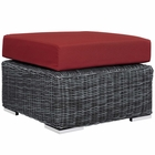 Modway Summon Outdoor Patio Wicker Rattan Sunbrella® Ottoman in Canvas Red MY-EEI-1869-GRY-RED