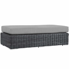 Modway Summon Outdoor Patio Wicker Rattan Sunbrella® Rectangle Ottoman in Canvas Gray MY-EEI-1877-GRY-GRY