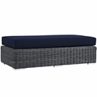 Modway Summon Outdoor Patio Wicker Rattan Sunbrella® Rectangle Ottoman in Canvas Navy MY-EEI-1877-GRY-NAV