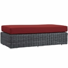 Modway Summon Outdoor Patio Wicker Rattan Sunbrella® Rectangle Ottoman in Canvas Red MY-EEI-1877-GRY-RED