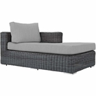 Modway Summon Outdoor Patio Wicker Rattan Sunbrella® Right Arm Chaise in Canvas Gray MY-EEI-1873-GRY-GRY