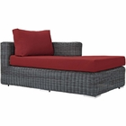Modway Summon Outdoor Patio Wicker Rattan Sunbrella® Right Arm Chaise in Canvas Red MY-EEI-1873-GRY-RED