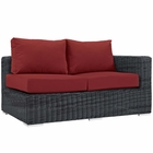 Modway Summon Outdoor Patio Wicker Rattan Sunbrella® Right Arm Loveseat in Canvas Red MY-EEI-1871-GRY-RED