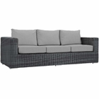 Modway Summon Outdoor Patio Wicker Rattan Sunbrella® Sofa in Canvas Gray MY-EEI-1874-GRY-GRY