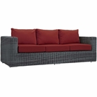 Modway Summon Outdoor Patio Wicker Rattan Sunbrella® Sofa in Canvas Red MY-EEI-1874-GRY-RED