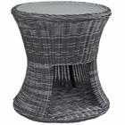 Modway Summon Round Outdoor Patio Wicker Rattan Side Table in Gray MY-EEI-1991-GRY