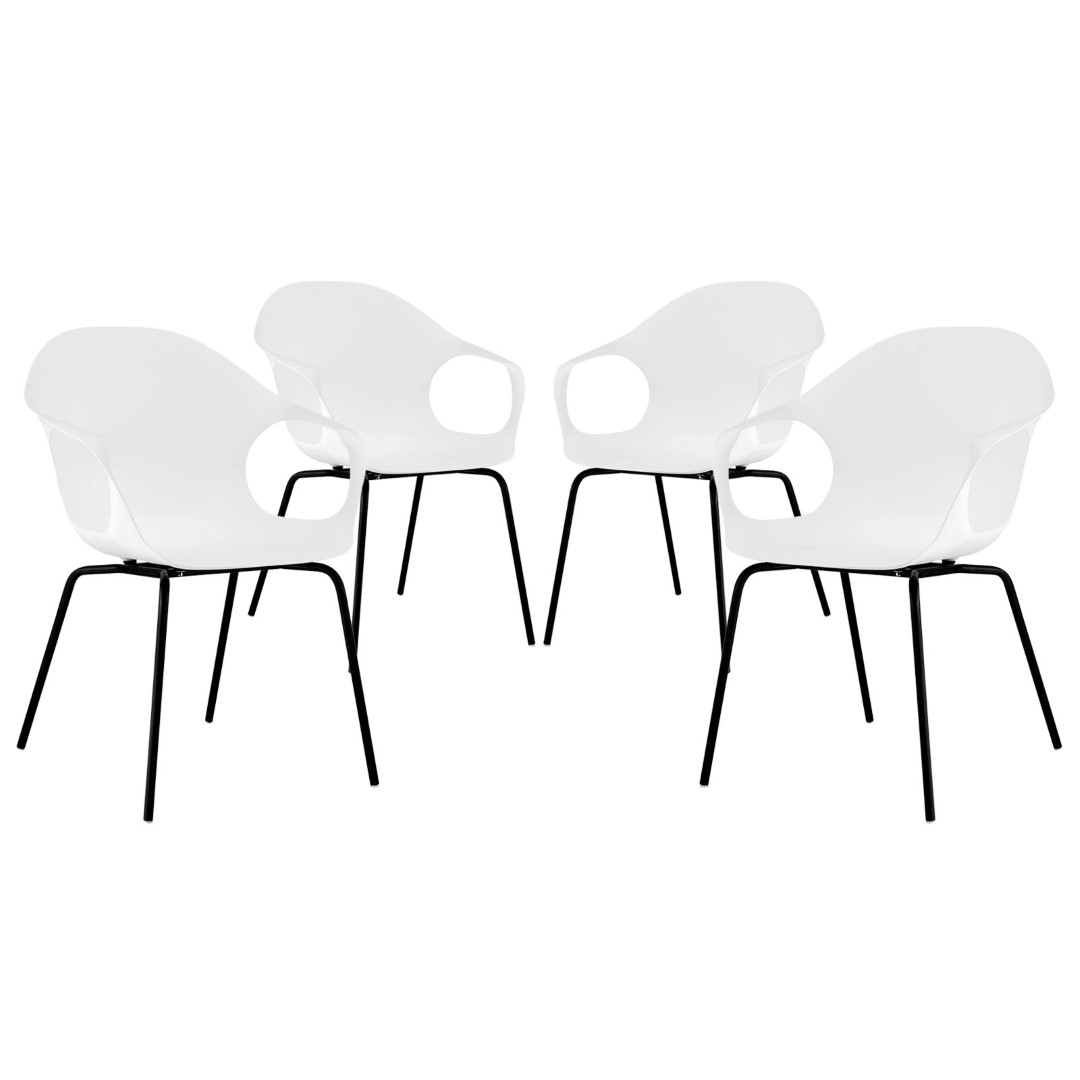 Modway Swerve Dining Armchairs Set of 4 in White MY-EEI-2344-WHI-SET