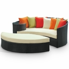 Modway Taiji Outdoor Patio Wicker Rattan Daybed in Espresso Multicolor MY-EEI-645-EXP-MUL