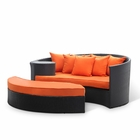 Modway Taiji Outdoor Patio Wicker Rattan Daybed in Espresso Orange MY-EEI-645-EXP-ORA