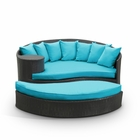 Modway Taiji Outdoor Patio Wicker Rattan Daybed in Espresso Turquoise MY-EEI-645-EXP-TRQ