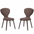 Modway Tempest Dining Side Chair Upholstered Fabric Set of 2 in Walnut Brown MY-EEI-2060-WAL-BRN-SET