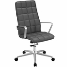 Modway Tile Highback Faux Leather Office Chair in Gray MY-EEI-2126-GRY