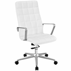 Modway Tile Highback Faux Leather Office Chair in White MY-EEI-2126-WHI