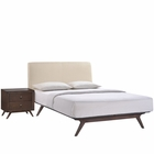 Modway Tracy 2 Piece Queen Upholstered Fabric Wood Bedroom Set in Cappuccino Beige MY-MOD-5260-CAP-BEI-SET