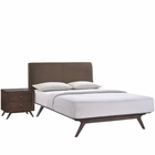 Modway Tracy 2 Piece Queen Upholstered Fabric Wood Bedroom Set in Cappuccino Brown MY-MOD-5260-CAP-BRN-SET