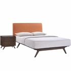 Modway Tracy 2 Piece Queen Upholstered Fabric Wood Bedroom Set in Cappuccino Orange MY-MOD-5260-CAP-ORA-SET