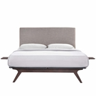 Modway Tracy 3 Piece Full Wood Bedroom Set in Cappuccino Gray MY-MOD-5485-CAP-GRY-SET