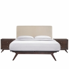 Modway Tracy 3 Piece Queen Upholstered Fabric Wood Bedroom Set in Cappuccino Beige MY-MOD-5261-CAP-BEI-SET