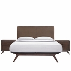 Modway Tracy 3 Piece Queen Upholstered Fabric Wood Bedroom Set in Cappuccino Brown MY-MOD-5261-CAP-BRN-SET