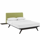 Modway Tracy 3 Piece Queen Upholstered Fabric Wood Bedroom Set in Cappuccino Green MY-MOD-5257-CAP-GRN-SET