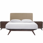 Modway Tracy 3 Piece Queen Upholstered Fabric Wood Bedroom Set in Cappuccino Latte MY-MOD-5261-CAP-LAT-SET