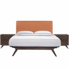 Modway Tracy 3 Piece Queen Upholstered Fabric Wood Bedroom Set in Cappuccino Orange MY-MOD-5261-CAP-ORA-SET