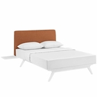 Modway Tracy 3 Piece Queen Upholstered Fabric Wood Bedroom Set in White Orange MY-MOD-5786-WHI-ORA