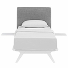 Modway Tracy 3 Piece Twin Upholstered Fabric Wood Bedroom Set in White Gray MY-MOD-5784-WHI-GRY