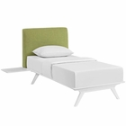 Modway Tracy 3 Piece Twin Upholstered Fabric Wood Bedroom Set in White Green MY-MOD-5784-WHI-GRN