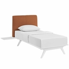 Modway Tracy 3 Piece Twin Upholstered Fabric Wood Bedroom Set in White Orange MY-MOD-5784-WHI-ORA