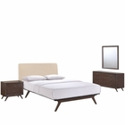 Modway Tracy 4 Piece Queen Upholstered Fabric Wood Bedroom Set in Cappuccino Beige MY-MOD-5264-CAP-BEI-SET