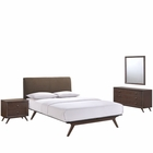 Modway Tracy 4 Piece Queen Upholstered Fabric Wood Bedroom Set in Cappuccino Brown MY-MOD-5264-CAP-BRN-SET