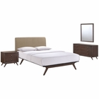 Modway Tracy 4 Piece Queen Upholstered Fabric Wood Bedroom Set in Cappuccino Latte MY-MOD-5264-CAP-LAT-SET