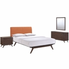 Modway Tracy 4 Piece Queen Upholstered Fabric Wood Bedroom Set in Cappuccino Orange MY-MOD-5264-CAP-ORA-SET