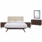 Modway Tracy 5 Piece Queen Upholstered Fabric Wood Bedroom Set in Cappuccino Beige MY-MOD-5265-CAP-BEI-SET