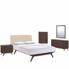 Modway Tracy 5 Piece Queen Upholstered Fabric Wood Bedroom Set in Cappuccino Beige MY-MOD-5340-CAP-BEI-SET