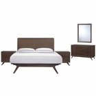Modway Tracy 5 Piece Queen Upholstered Fabric Wood Bedroom Set in Cappuccino Brown MY-MOD-5265-CAP-BRN-SET