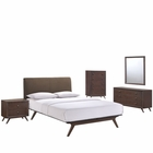 Modway Tracy 5 Piece Queen Upholstered Fabric Wood Bedroom Set in Cappuccino Brown MY-MOD-5340-CAP-BRN-SET