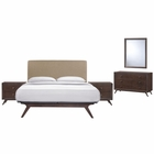 Modway Tracy 5 Piece Queen Upholstered Fabric Wood Bedroom Set in Cappuccino Latte MY-MOD-5265-CAP-LAT-SET