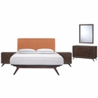 Modway Tracy 5 Piece Queen Upholstered Fabric Wood Bedroom Set in Cappuccino Orange MY-MOD-5265-CAP-ORA-SET