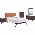 Modway Tracy 5 Piece Queen Upholstered Fabric Wood Bedroom Set in Cappuccino Orange MY-MOD-5340-CAP-ORA-SET
