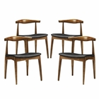 Modway Tracy Dining Chairs Wood Set of 4 in Black MY-EEI-1682-BLK