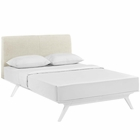 Modway Tracy Queen Upholstered Fabric Wood Bed in White Beige MY-MOD-5766-WHI-BEI